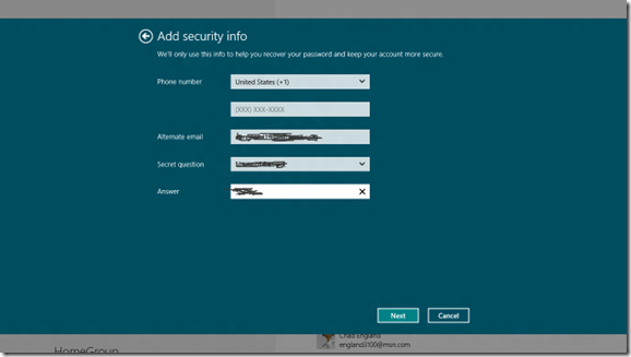 windows 8 Enter pw to live account verify
