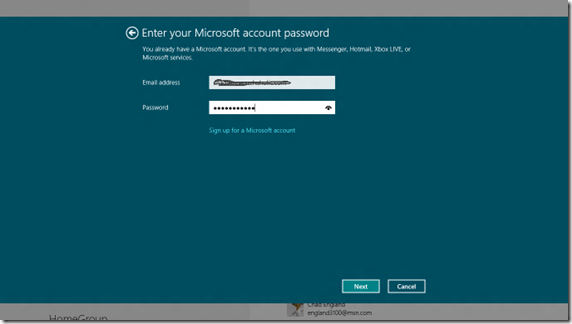 windows 8 Enter pw to live account