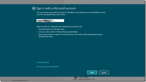 windows 8 user enter email